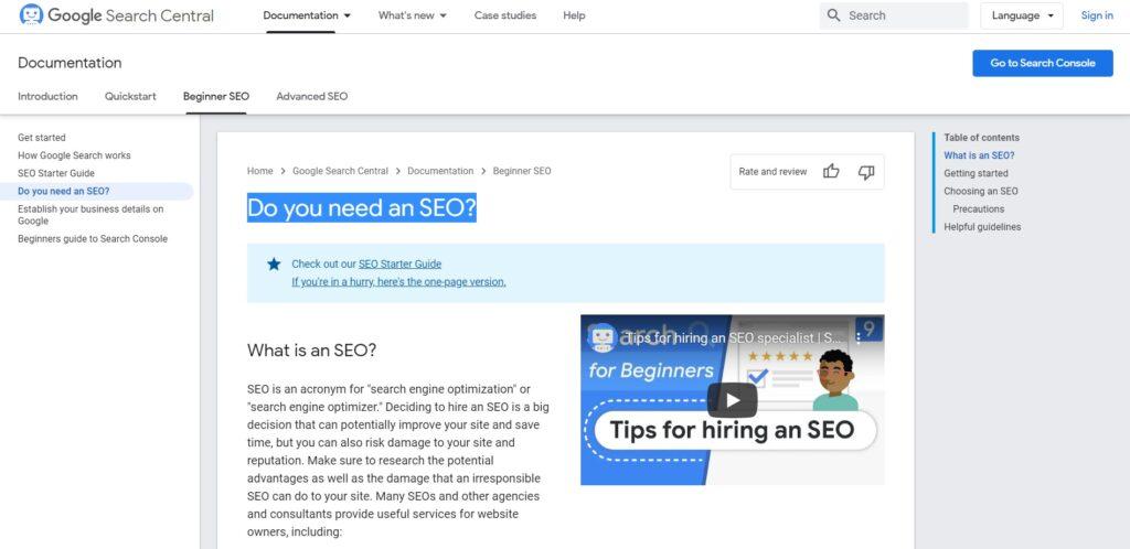 Do you need an SEO? Google Search Central